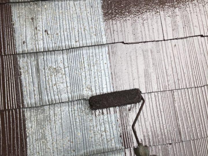 屋根 上塗1回目(薄付)