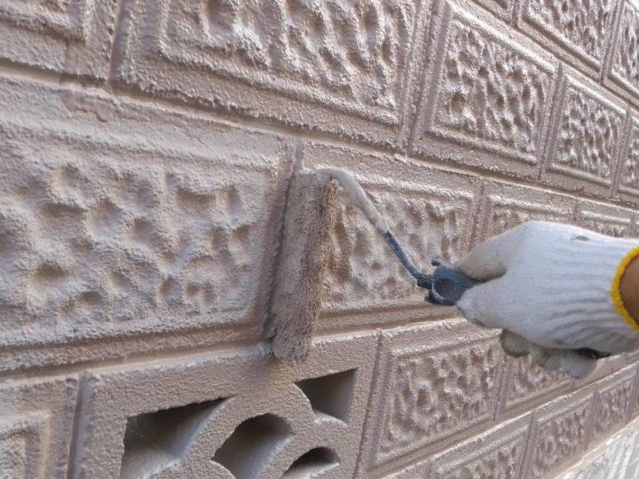 ブロック塀 上塗り2回目