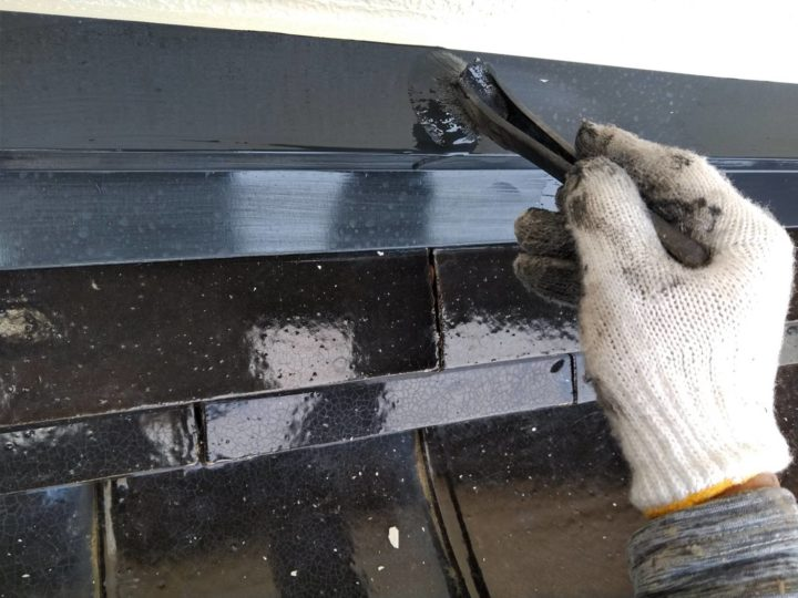 屋根水切り 上塗2回目