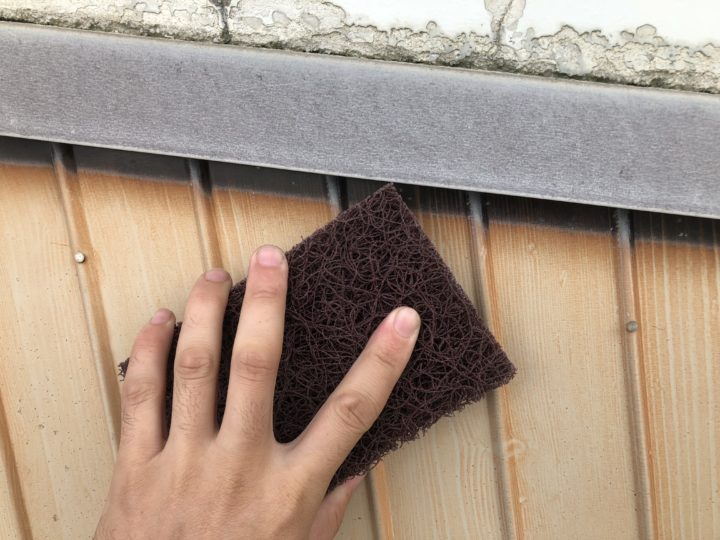 鉄板壁 錆落し