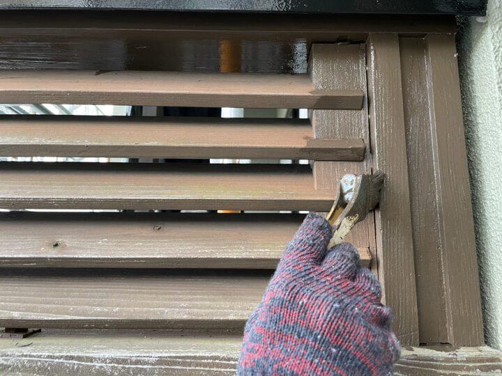 手摺り 木材保護塗料1回目