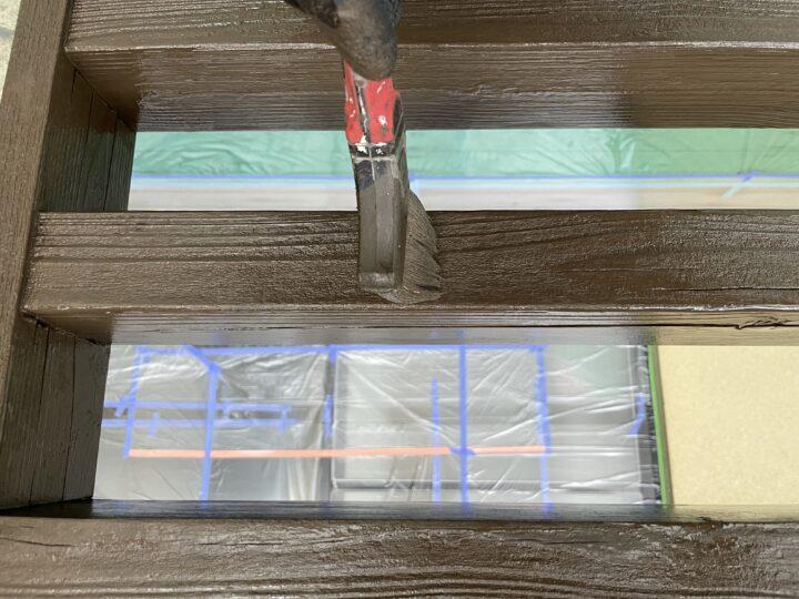 手摺り 木材保護塗料2回目