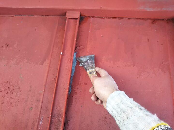 山側鉄板屋根 ケレン 山側鉄板屋根 ケレン