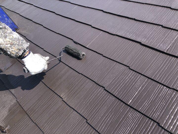 屋根上塗2回目(薄付)