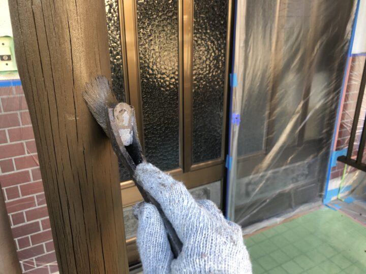 玄関回り木部 上塗り2回目