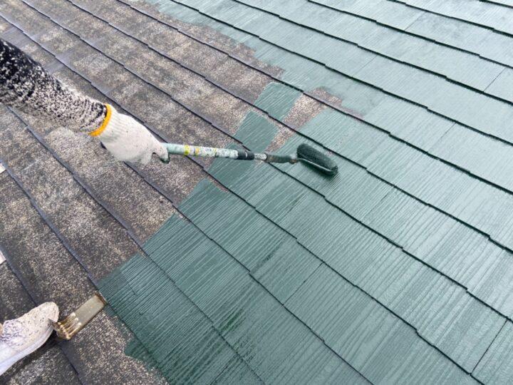 屋根 上塗り1回目(薄付)